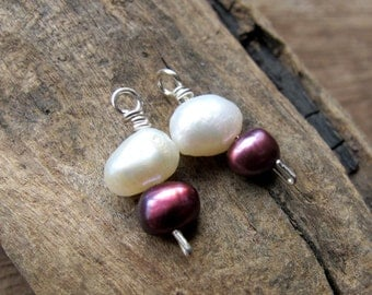 Sterling Silver Wire Wrapped Pearl Dangle Charms for Neckace, Pendant, Earrings