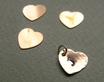 Personalized Heart Charm - Hand Stamped Hammered Initial Pendant - Golden Heart / Tiny heart for Necklace / Hearts - initial Hearts