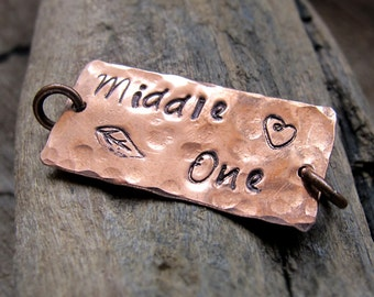 Personalized Rectangle Bar for Necklace, Bracelet 1 inch - Hammered Copper Tag Engraved Connector - Engraved Pendant - Charm Bar Custom