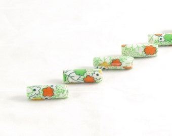 Handmade Fabric Beads Bugle Fiber Textile Beads Lightweight Multicolored Big Large Hole Green Yellow, Orange and White Floral Summer Flowers