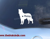 Border Collie Silhouette Vinyl Sticker - personalized Car Decal