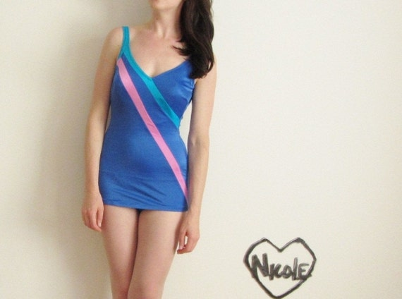 1960 beauty queen maillot . maypole ribbon swimsuit .small.medium .sale