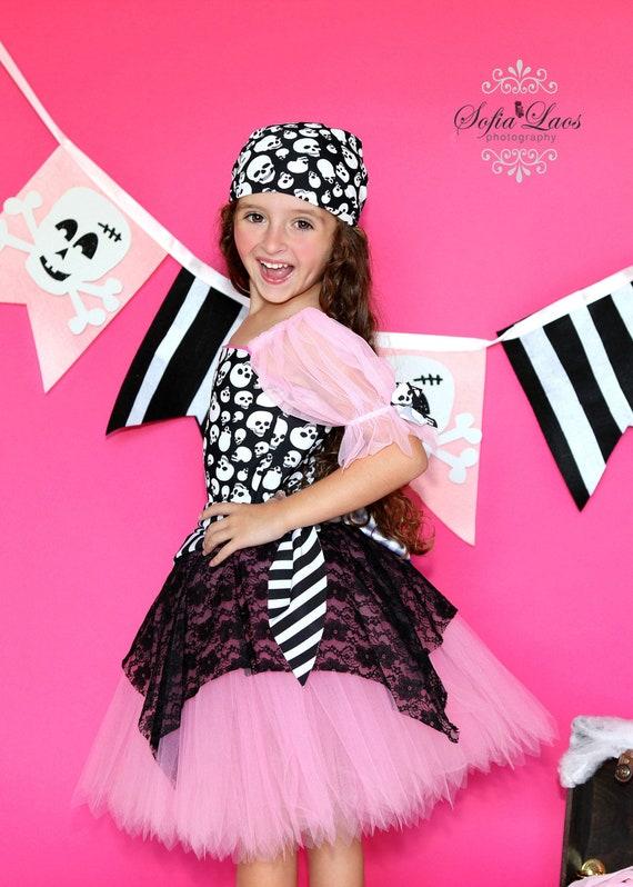 Custom Boutique Pink  Pirate tutu  costume 8 Halloween costume dress