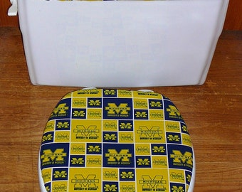 University of Michigan Toilet Seat Cover and Tank Lid Cover Set - Custom Order for Shonte Dudley