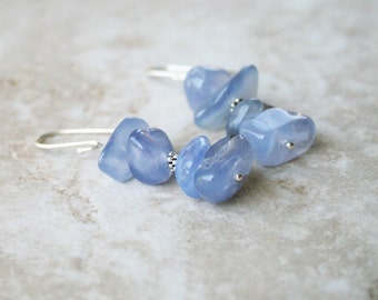 Chalcedony earrings blue stone beaded earrings sterling silver