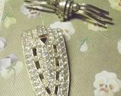 Art Deco Beauties Vintage Rhinestone Dress Clip and Gold Filled Sleek Brooch