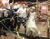 150 Hand Rolled Streamers - Wedding Exit - Layered Metallic with Finger Loop Rushed for kkrad