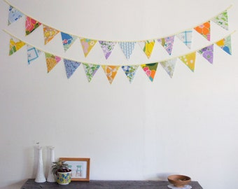 Large Triangle Bunting Banner, Nursery Bunting, Bright Summer, Party Decorations, Knotted Nest on Etsy