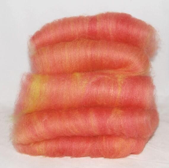 BFL/Silk Melon Batts - 5 ounces