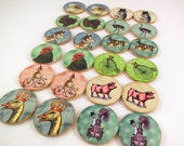 Memory Matching Game Wood Decoupage Farm Animals Ready to Ship