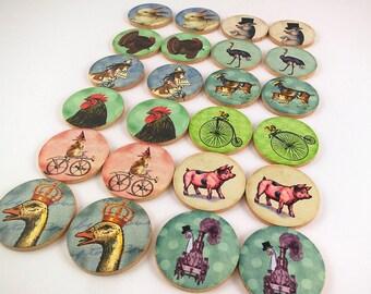 Memory Matching Game Wood Decoupage Farm Animals