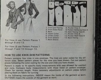 Vintage Kwik Sew 1047 Misses Jackets