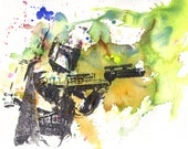 Boba Fett Star Wars Art Portrait Watercolor Painting - Fine Art print 8 X 10 in. Star Wars Movie Poster Print