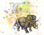 Triceratops Dinosaur Watercolor Animal Painting Print - 13 x 19 in. Print Watercolor Painting Great Decor Children Kids Wall Art