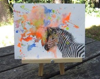 Zebra Animal Watercolor Painting - Original Watercolor Painting Great Children Kids Wall Art Nursery Decor