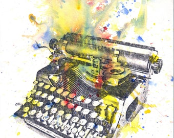 Typewriter Abstract Art Print From Original Watercolor Painting - 8 x 10 in. Typewriter Art Print