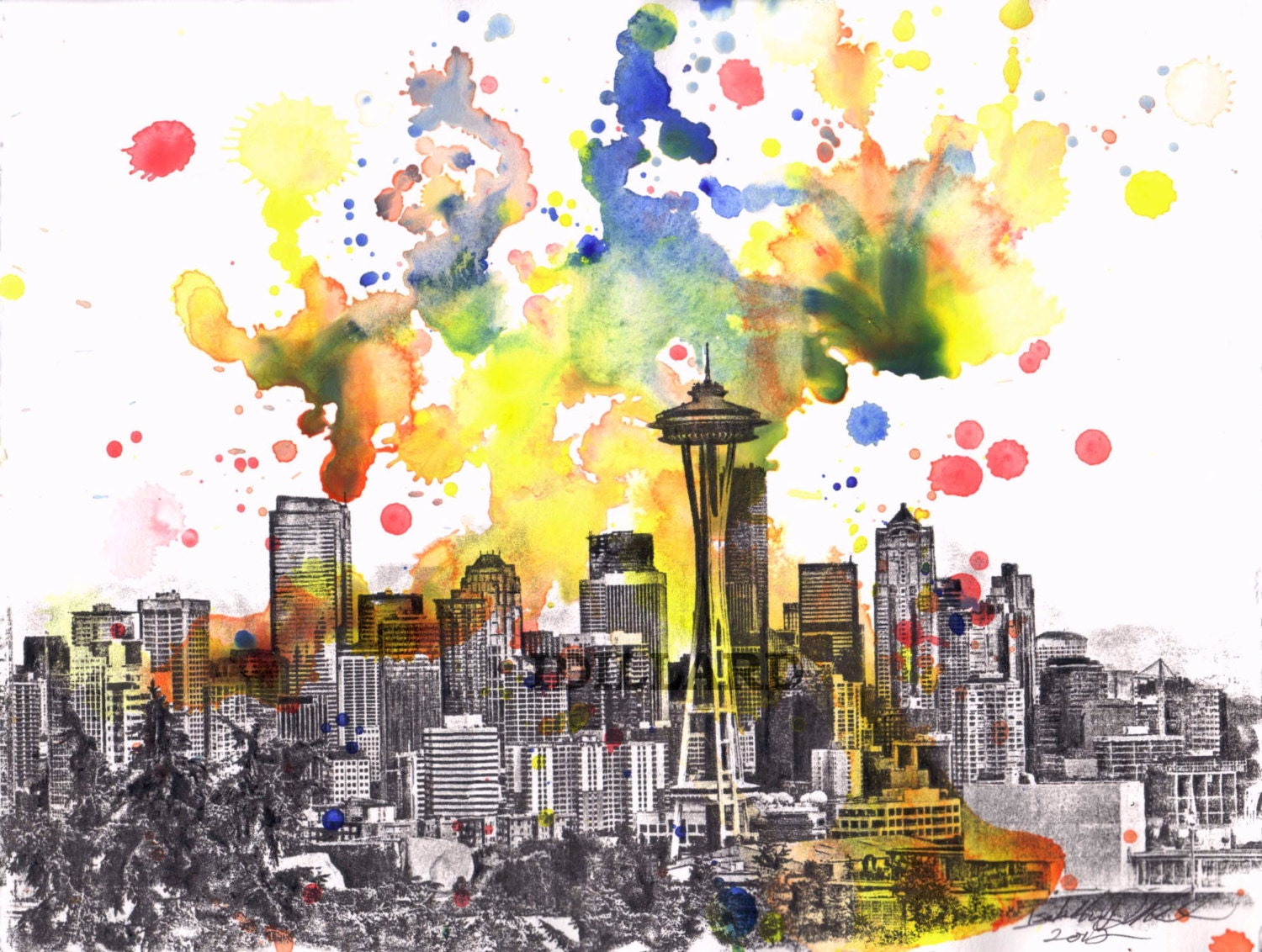 Seattle Skyline Art Print From Original Watercolor Painting