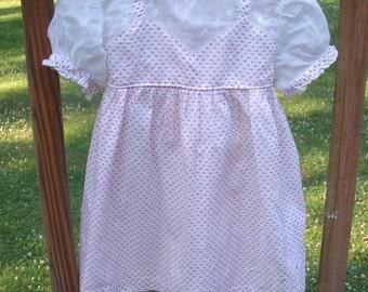 SALE - Vintage Red & White Polka Dot Nannette Baby Dress