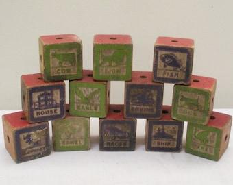 Antique Vintage Wooden Picture Blocks - Baby Blocks