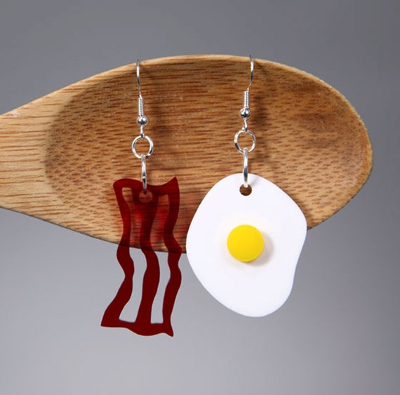 Bacon and Egg Earrings Made from Laser Cut Acrylic, Fake Food Jewelry