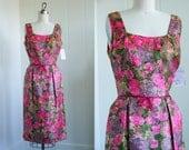 1960's Vintage Pink Floral Shiny Wiggle Dress