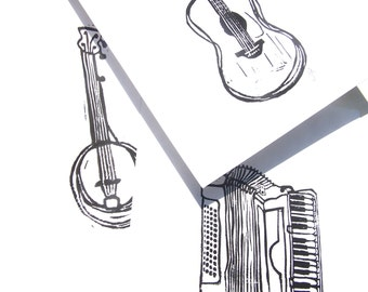3 LINOCUT PRINTS - Set of 3 letterpress instrument prints - Guitar, accordion, banjo 8x10