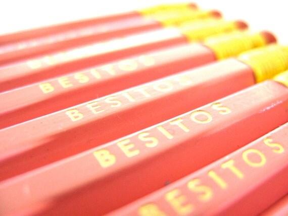 "6 PENCILS - light honeysuckle pink ""besitos"" Spanish graphite hex Valentine pencil set - little kisses w/ kraft pencil box"