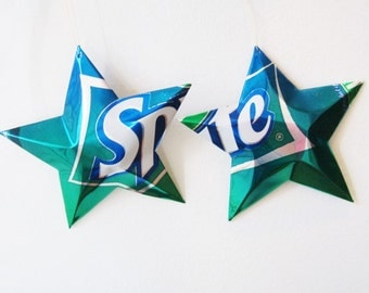 Sprite Stars Christmas Ornaments Soda Can Upcycled