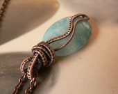 Seashore, Blue Aquamarine Pendant, Antique Copper Wire-wrapped Necklace, OOAK Jewelry