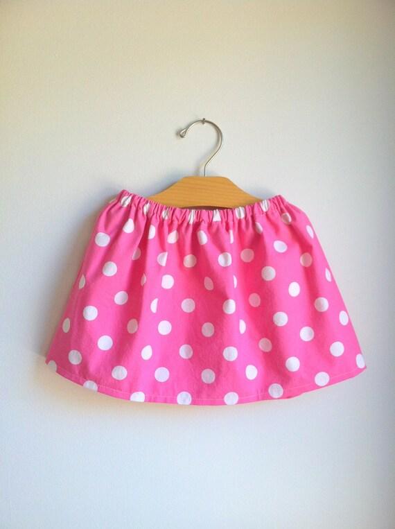 pink polka dot skirt - minnie mouse - baby toddler girls - handmade