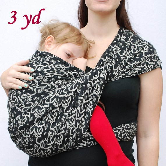 RESERVED - Baby Wrap Carrier Maternity Handloomed woven Cotton BabyEtte Sunayana 'Storm' 3 yard long - Non-Stretchy - Ready To Ship