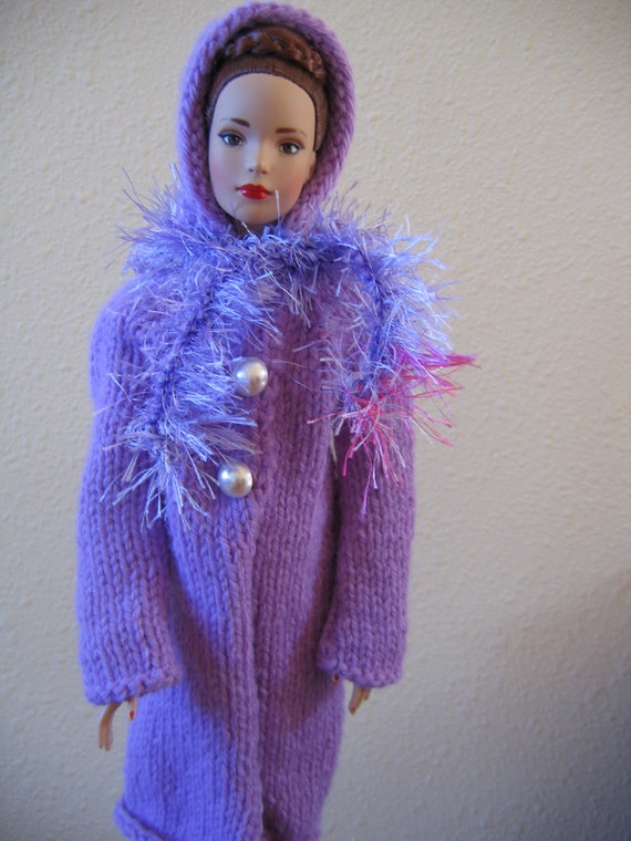 Tonner Tyler Doll Clothes  Lavender Hooded Coat with Scarf fits 16 inch fashion doll such as Tyler Hand Knit