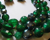 Vintage Necklace and Clip Earrings W. GERMANY Triple Strand GREEN