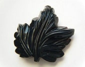 Vintage Brooch Leaf Celluloid Black