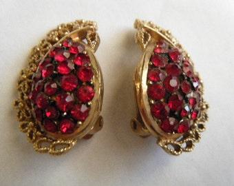 Deep Red Rhinestone Earrings Clips