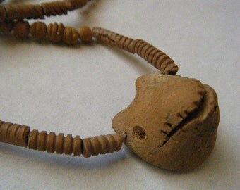 Clay Beads Tribal Necklace Primitive Natural Native American