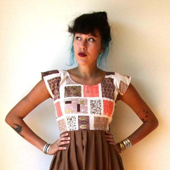 Mid Century Dress / Geo Print Dress Sz XS S M L