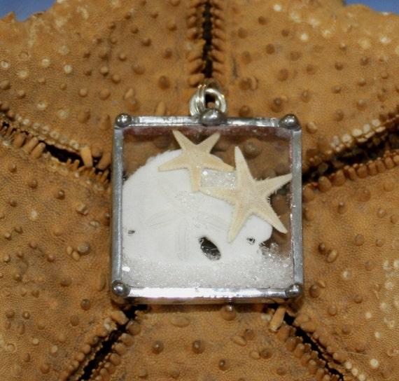 Real Sand Dollar and Double Starfish Glass Shadowbox Charm Pendant