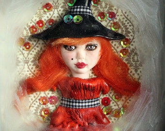 Art Doll HALLOWEEN ART Ghost in Picture Frame small art doll Red haired Witch