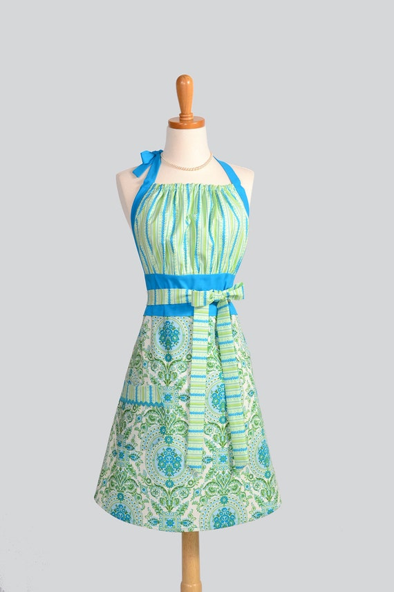 Cute Kitsch Retro Apron - Handmade Full Womens Apron in Vintage Ocean Teal Blue and Green Damask and Stripes