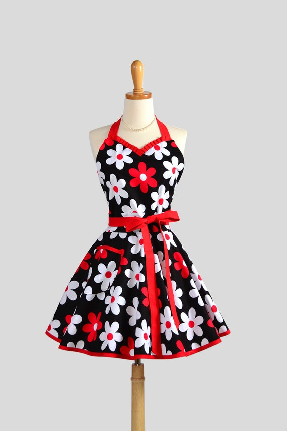 Sweetheart Retro Apron - Sexy Womens Apron Lil Plain Jane in Flirty Black Red and White with Cute Daisies Full Apron