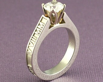 Roman Numeral Ring in 14K Gold with Cathedral-Set .375 Carat Diamond Solitaire