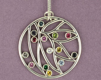 Family Petal Birthstone Pendant in Sterling Silver