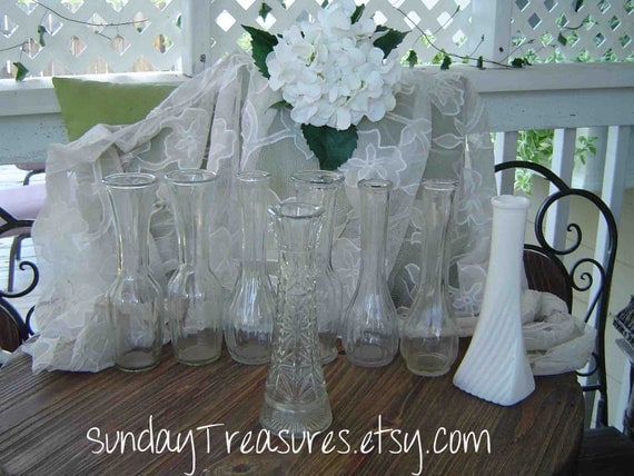 8 pc VINTAGE Clear Glass Flower Vases with 1 Milk Glass 1 Cut Crystal  Instant Collection Wedding Christmas Thanksgiving Centerpiece