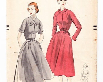 Vintage 1951 Vogue 7481 Sewing Pattern Misses' One Piece Dress Size 14 Bust 32
