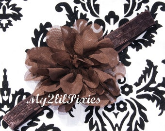 Baby Headband, Brown Chiffon Flower Headband,Baby girl Headband,Newborn Headband, Baby Headbands,Headband- More Colors Available
