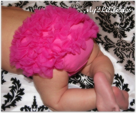 BLOOMERS, Hot Pink Bloomer, Baby bloomer, Ruffle Bloomer, Ruffle diaper cover, Diaper cover,chiffon ruffle cover, ruffle butt, infant