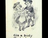 Scottish Humor Vintage Postcard, Children Coming Thru the Rye, Antique; Cute Kids in Costume