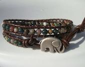 Fancy Jasper Beaded Leather Wrap Bracelet with Elephant Button