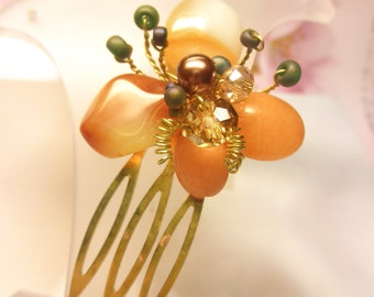 Pale Orange Jasper Crystal Pearls Glass Seed Beads Tiny Antique Bronze HAIR COMB